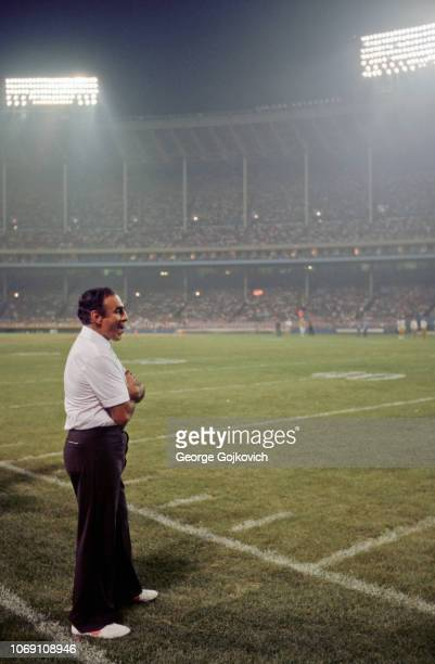 Head coach Sam Rutigliano of the Cleveland Browns looks on from the sideline during a preseason game against the Pittsburgh Steelers at Cleveland...