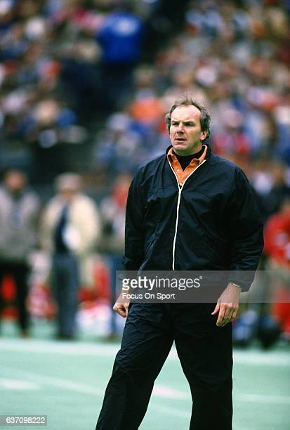 Head coach Sam Wyche of the Cincinnati Bengals looks on during an NFL football game circa 1987 at Riverfront Stadium in Cincinnati Ohio Wyche coached...