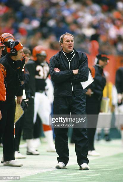 Head coach Sam Wyche of the Cincinnati Bengals looks on from the sidelines during an NFL football game circa 1987 at Riverfront Stadium in Cincinnati...