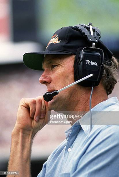 Head coach Sam Wyche of the Cincinnati Bengals looks on from the sidelines during an NFL football game circa 1990 Wyche coached the Bengals from...