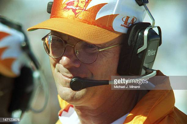 Head Coach Sam Wyche of the Tampa Bay Buccaneers smiles when he realizes that his team is winning in a NFL game against the Los Angeles Rams at Tampa...