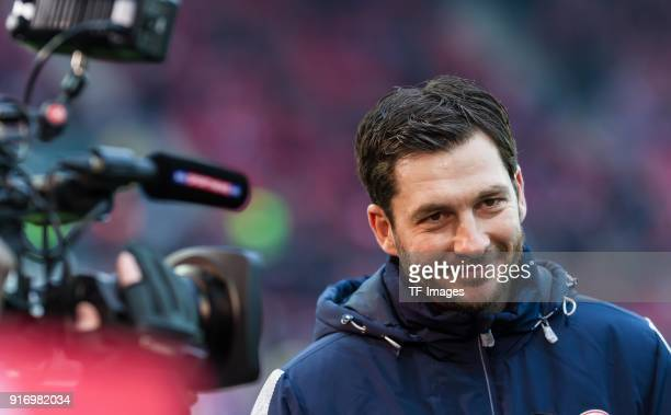 Head coach Sandro Schwarz of Mainz gives an interview prior to the Bundesliga match between 1 FSV Mainz 05 and FC Bayern Muenchen at Opel Arena on...