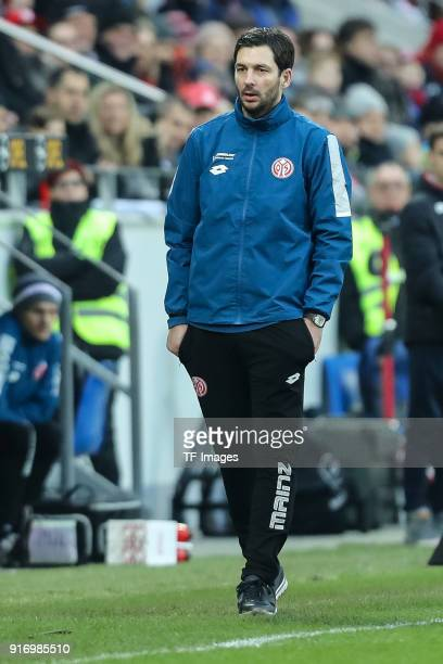 Head coach Sandro Schwarz of Mainz looks on prior to the Bundesliga match between 1 FSV Mainz 05 and FC Bayern Muenchen at Opel Arena on February 3...
