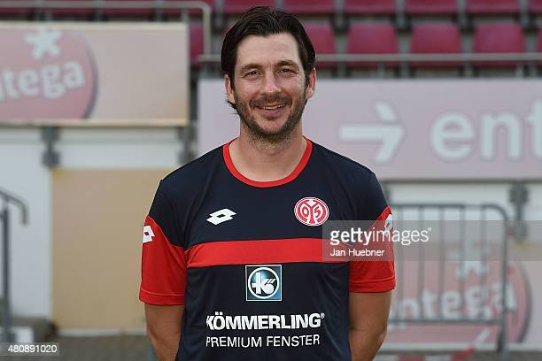 Head Coach Sandro Schwarz poses during the official team presentation of 1 FSV Mainz 05 II at Bruchweg Stadium on July 15 2015 in Mainz Germany
