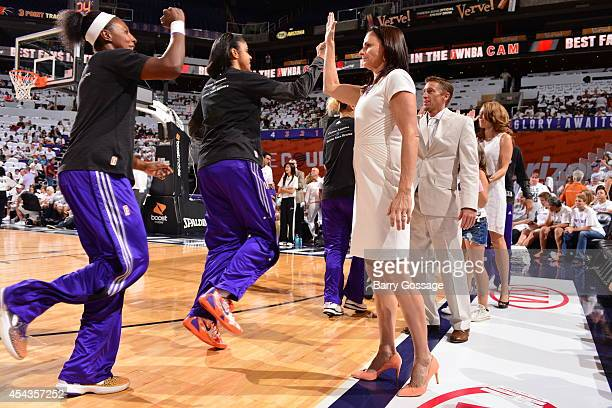 Head coach Sandy Brondello of the Phoenix Mercury prepares for the game against the Minnesota Lynx before Game 1 of the 2014 WNBA Western Conference...