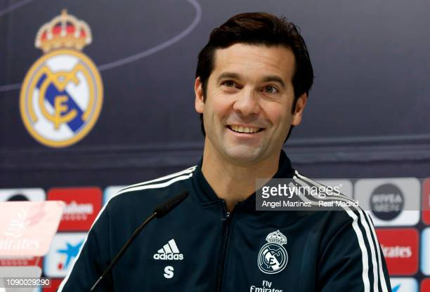 Head coach Santiago Solari of Real Madrid attends a press conference at Valdebebas training ground on January 05 2019 in Madrid Spain