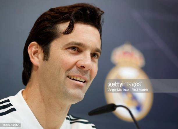 Head coach Santiago Solari of Real Madrid attends a press conference at Valdebebas training ground on January 18 2019 in Madrid Spain