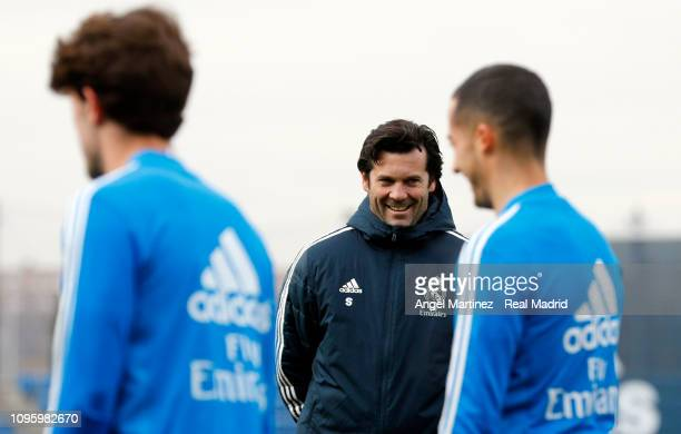 Head coach Santiago Solari of Real Madrid looks on during a training session at Valdebebas training ground on January 18 2019 in Madrid Spain