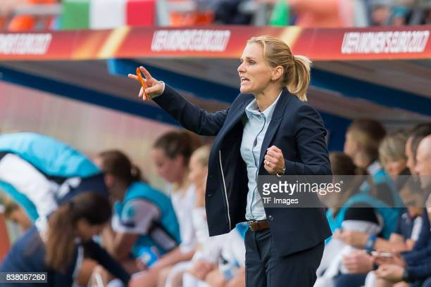 Head coach Sarina Wiegman of the Netherlands gestures during their Group A match between Netherlands and Norway during the UEFA Women's Euro 2017 at...
