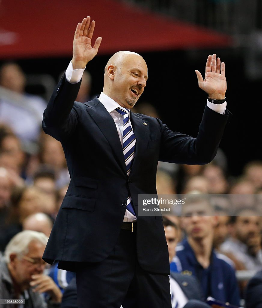 Head coach Sasa Obradovic of Berlin gestures during the NBA Global Games Tour 2014 match between Alba Berlin and San Antonio Spurs at O2 World on October 8, 2014 in Berlin, Germany.