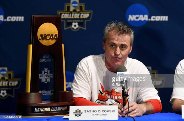 Head Coach Sasho Cirovski of the Maryland Terrapins talks to the media after defeating the Akron Zips during the Division I Men's Soccer Championship...