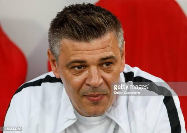 Head coach Savo Milosevic looks on prior to the Super League match between FK Crvena Zvezda and FK Partizan at stadium Rajko Mitic on April 25, 2019...