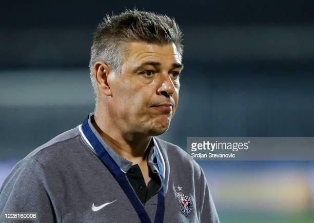 Head coach Savo Milosevic of FK Partizan looks on after the Serbian SuperLiga match between FK Partizan and FK Indjija at Partizan Stadium on August...