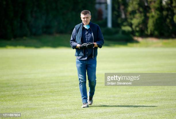 Head coach Savo Milosevic of FK Partizan looks on during the FK Partizan first training session since the corona crisis started at Teleoptik Sports...