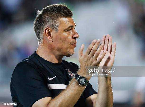 Head coach Savo Milosevic of Partizan applauds to the fans after the UEFA Europa League Second Qualifying round Second Leg match between Partizan and...