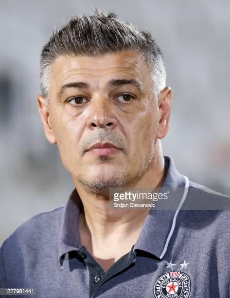 Head coach Savo Milosevic of Partizan looks on during the Serbian Super League match between FK Partizan and Javor Matis at Partizan Stadium on...