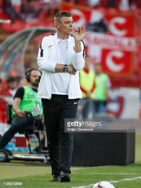 Head coach Savo Milosevic of Partizan looks on during the Super League match between FK Crvena Zvezda and FK Partizan at stadium Rajko Mitic on April...