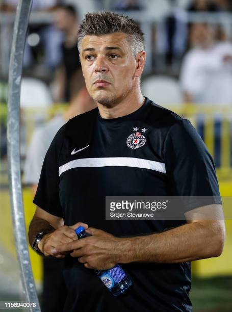 Head coach Savo Milosevic of Partizan looks on prior to the UEFA Europa League Second Qualifying round Second Leg match between Partizan and Connah's...
