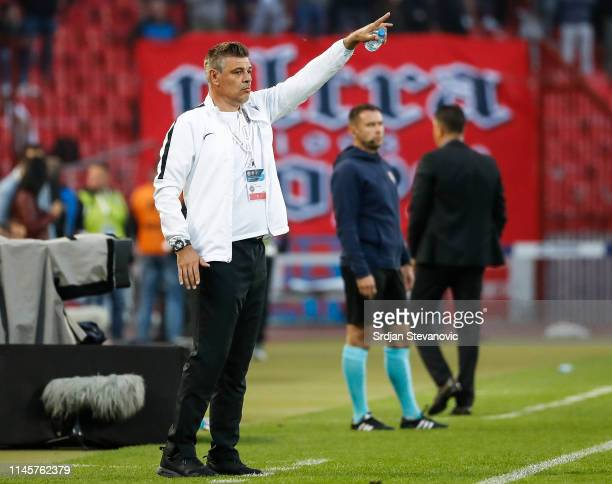 Head coach Savo Milosevic of Partizan reacts during the Serbian Cup Final match between FK Crvena Zvezda and FK Partizan at stadium Rajko Mitic on...