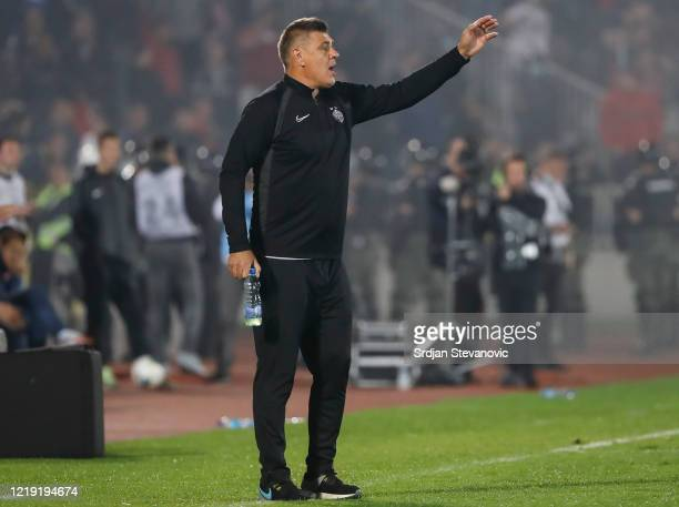 Head coach Savo Milosevic of Partizan reacts during the Serbian Cup Semi Final match between FK Partizan and FK Crvena Zvezda on June 10, 2020 in...