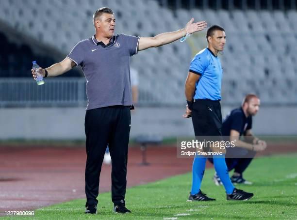 Head coach Savo Milosevic of Partizan reacts during the Serbian Super League match between FK Partizan and Javor Matis at Partizan Stadium on August...