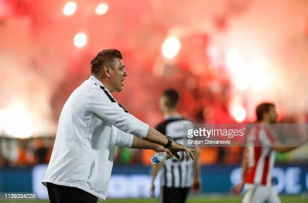 Head coach Savo Milosevic of Partizan reacts during the Super League match between FK Crvena Zvezda and FK Partizan at stadium Rajko Mitic on April...