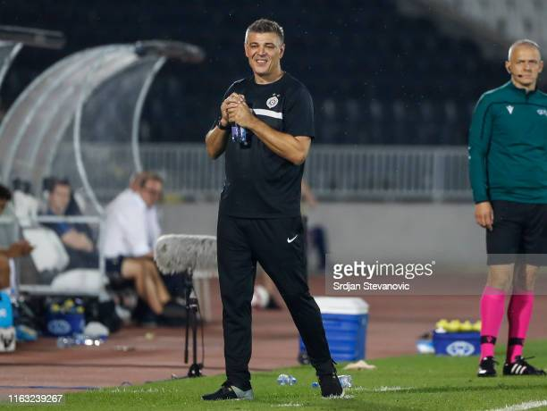 Head coach Savo Milosevic of Partizan reacts during the UEFA Europa League Play Off First Leg match between Partizan Belgrade and Molde at on August...