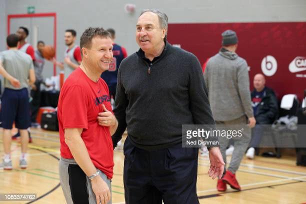 Head Coach Scott Brooks and General Manager Ernie Grunfeld of the Washington Wizards talk during practice as part of the 2019 NBA London Global Game...