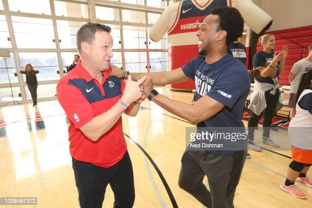 Head coach Scott Brooks and Ish Smith of the Washington Wizards laugh during a Special Olympics game with DC area residents on March 9 2020 in...
