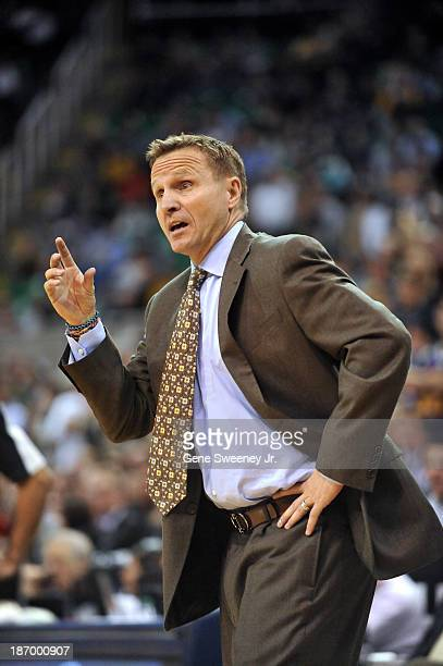 Head coach Scott Brooks of the Oklahoma City Thunder gestures to the officials during the game between his team and the Utah Jazz at EnergySolutions...
