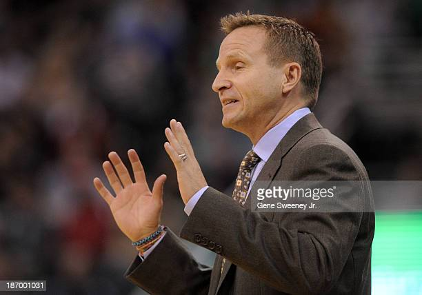 Head coach Scott Brooks of the Oklahoma City Thunder motions to the officials during their game against the Utah Jazz at EnergySolutions Arena...