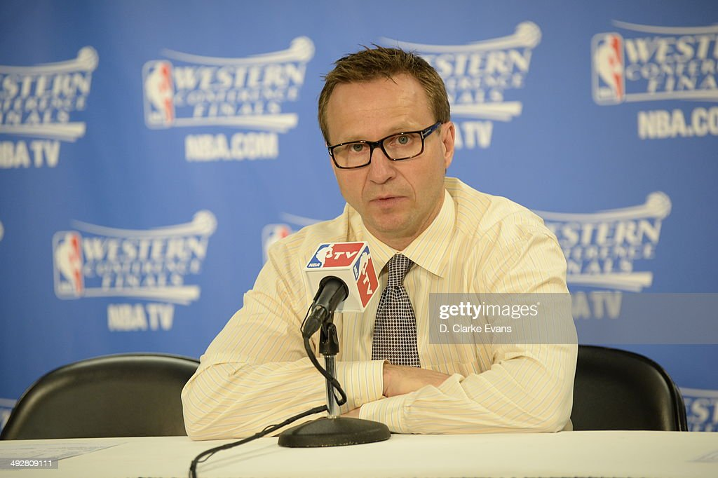 Head Coach Scott Brooks of the Oklahoma City Thunder speaks with the media after the game against The San Antonio Spurs in Game Two of the Western Conference Finals during the 2014 NBA Playoffs on May 21, 2014 at the AT&T Center in San Antonio, Texas.
