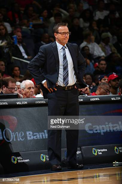 Head Coach Scott Brooks of the Washington Wizards looks on against the Miami Heat during a preseason game on October 4 2016 at Verizon Center in...