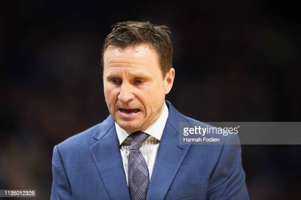 Head coach Scott Brooks of the Washington Wizards looks on during the game against the Minnesota Timberwolves on March 9, 2019 at the Target Center...