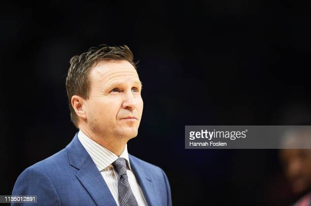 Head coach Scott Brooks of the Washington Wizards looks on during the game against the Minnesota Timberwolves on March 9 2019 at the Target Center in...