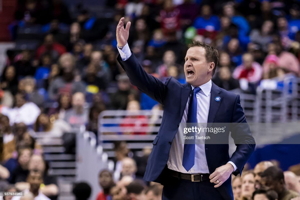 Head coach Scott Brooks of the Washington Wizards reacts against the New York Knicks during the second half at Capital One Arena on March 25, 2018 in Washington, DC.