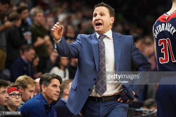 Head coach Scott Brooks of the Washington Wizards reacts during the game against the Minnesota Timberwolves on March 9 2019 at the Target Center in...