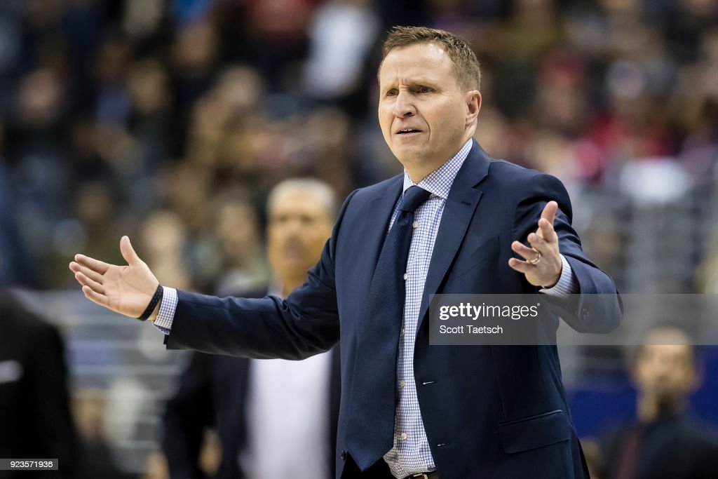 Head coach Scott Brooks of the Washington Wizards reacts during the first half against the Washington Wizards at Capital One Arena on February 23, 2018 in Washington, DC.