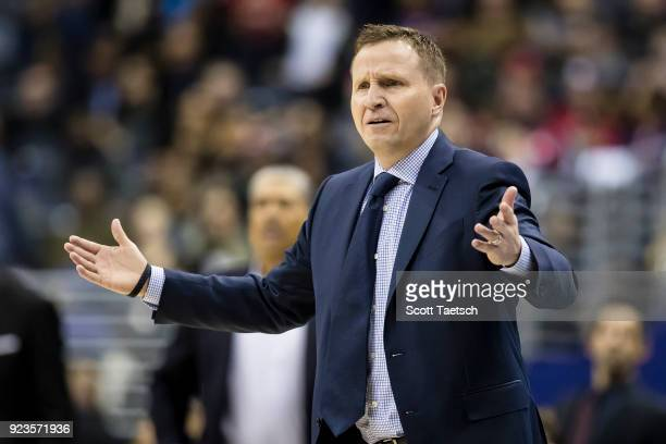 Head coach Scott Brooks of the Washington Wizards reacts during the first half against the Washington Wizards at Capital One Arena on February 23...