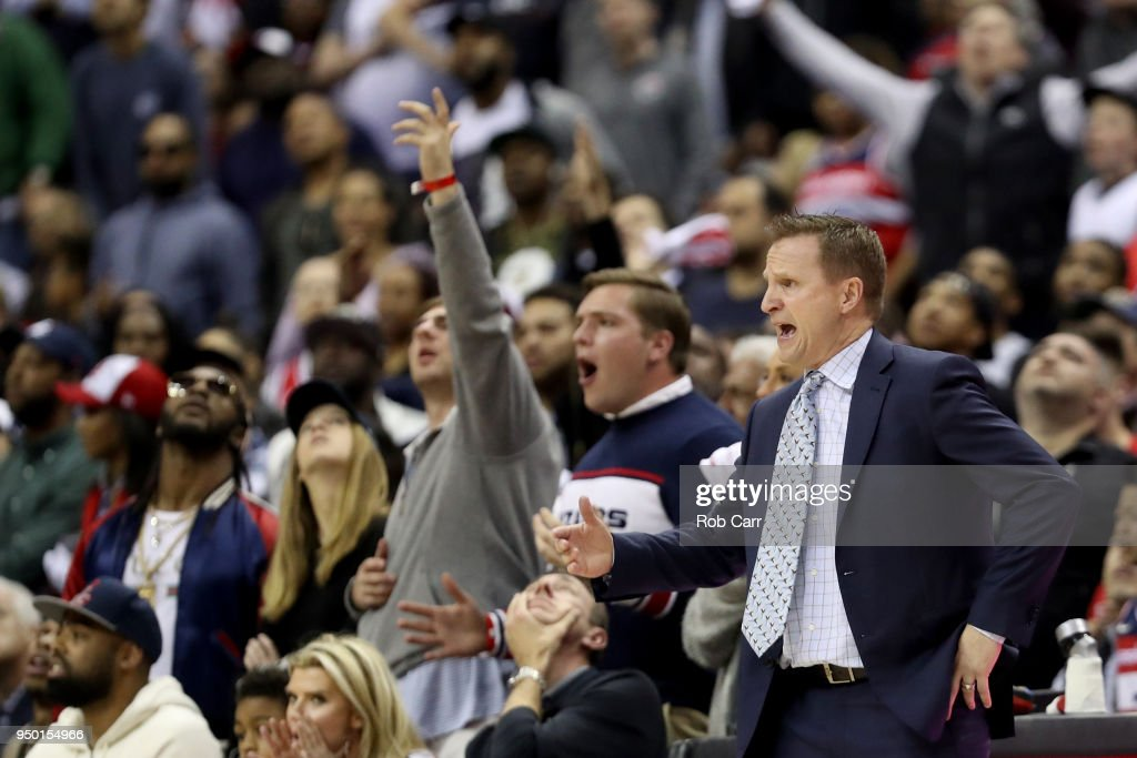 Head coach Scott Brooks of the Washington Wizards reacts to a call in the fourth quarter aToronto Raptors during Game Four of Round One of the 2018 NBA Playoffs at Capital One Arena on April 22, 2018 in Washington, DC.