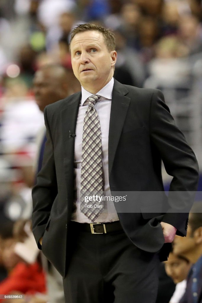 Head coach Scott Brooks of the Washington Wizards reacts to a first half call against the Toronto Raptors during Game Three of Round One of the 2018 NBA Playoffs at Capital One Arena on April 20, 2018 in Washington, DC.