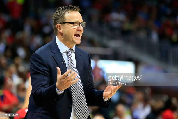 Head coach Scott Brooks of the Washington Wizards reacts to a play during the fourth quarter against the Atlanta Hawks in Game Four of the Eastern...