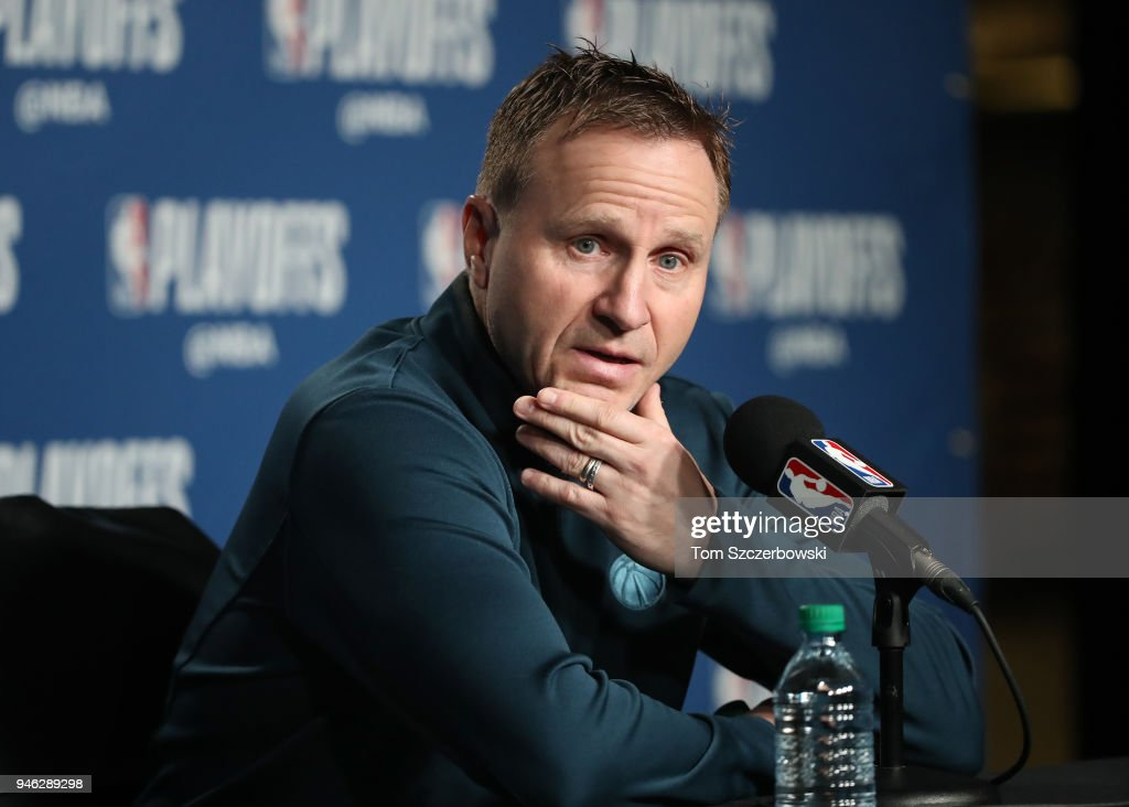 Head coach Scott Brooks of the Washington Wizards talks to the media before the start of their game against the Toronto Raptors prior to Game One of the first round of the 2018 NBA Playoffs at Air Canada Centre on April 14, 2018 in Toronto, Canada.