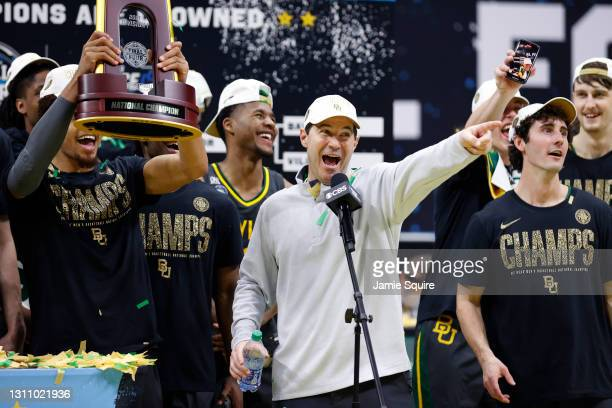 Head coach Scott Drew of the Baylor Bears addresses the crowd after defeating the Gonzaga Bulldogs 86-70 in the National Championship game of the...