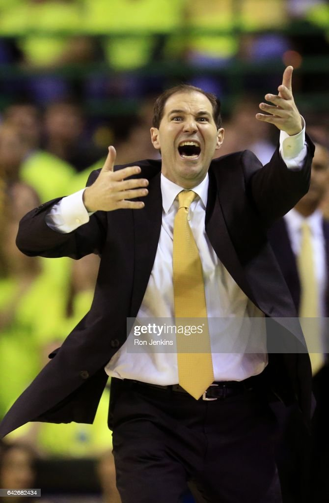 Head coach Scott Drew of the Baylor Bears reacts as Baylor plays the Kansas Jayhawks in the first half at the Ferrell Center on February 18, 2017 in Waco, Texas. Kansas won 67-65.