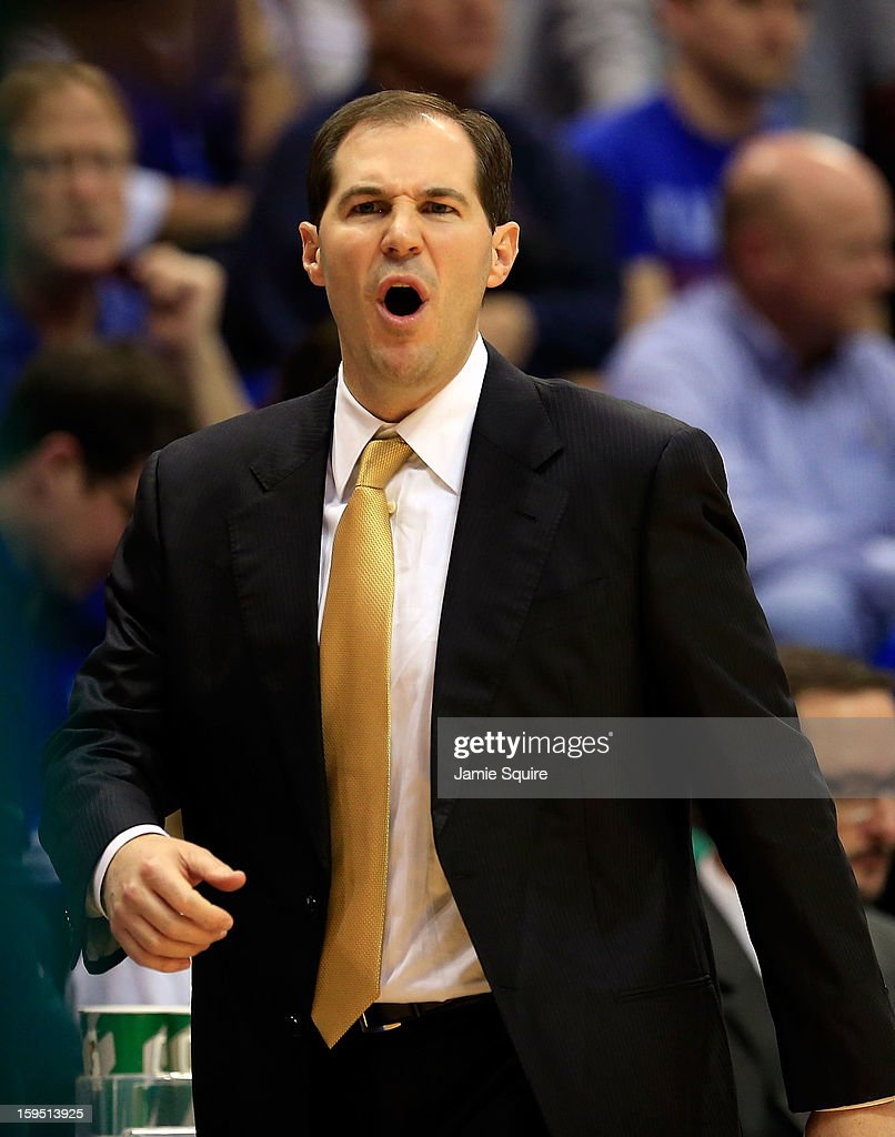 Head coach Scott Drew of the Baylor Bears reacts during the game against the Kansas Jayhawks at Allen Fieldhouse on January 14, 2013 in Lawrence, Kansas.
