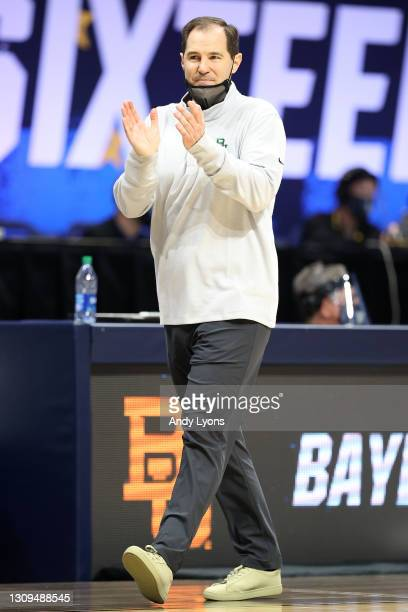 Head coach Scott Drew of the Baylor Bears reacts in the second half of their Sweet Sixteen game against the Villanova Wildcats in the 2021 NCAA Men's...