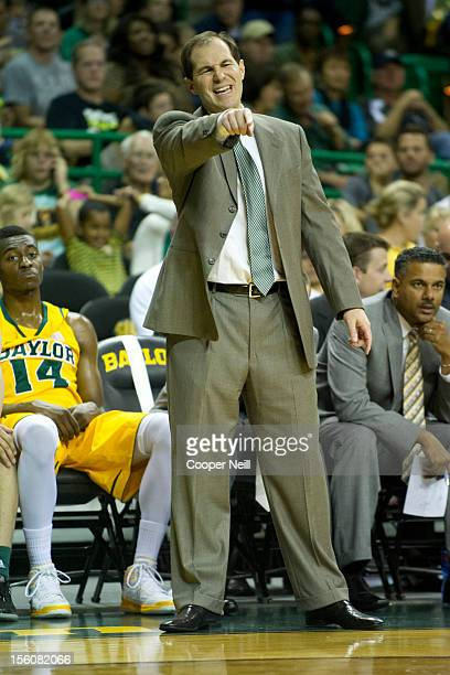 Head coach Scott Drew of the Baylor University Bears looks on against the Jackson State University Tigers on November 11 2012 at the Ferrell Center...