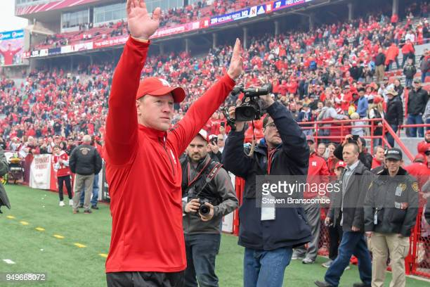 Head Coach Scott Frost of the Nebraska Cornhuskers acknowledges fans after the Spring game at Memorial Stadium on April 21 2018 in Lincoln Nebraska
