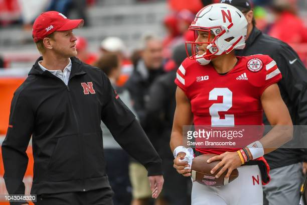 Head coach Scott Frost of the Nebraska Cornhuskers and quarterback Adrian Martinez before the game against the Purdue Boilermakers at Memorial...